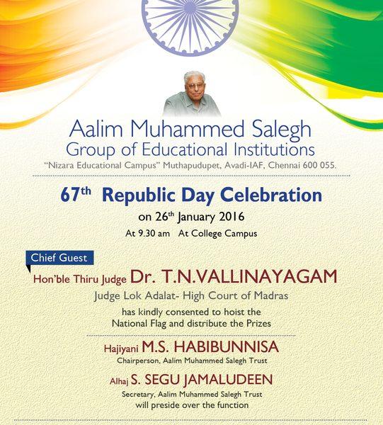 67th Republic Day Celebration 2016 Aalim Muhammed Salegh